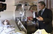 Image: Jose Carreras with a patient at the City of Hope-Samaritan Bone Marrow Transplant Unit.